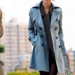 Jackets & Blazers - Bow back trench coat double breasted blue m